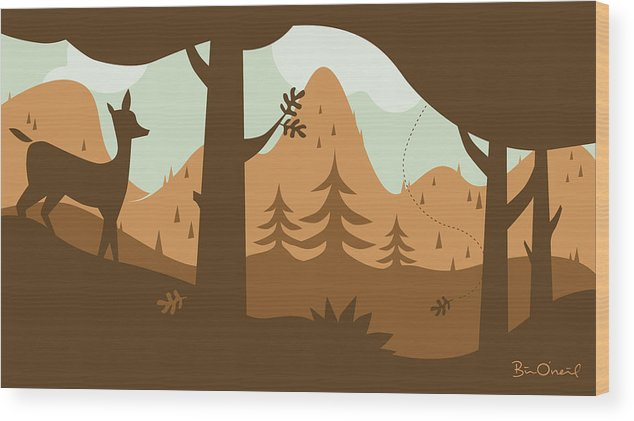 Landscape Wood Print featuring the print Autumn Landscape With Deer by Bill ONeil