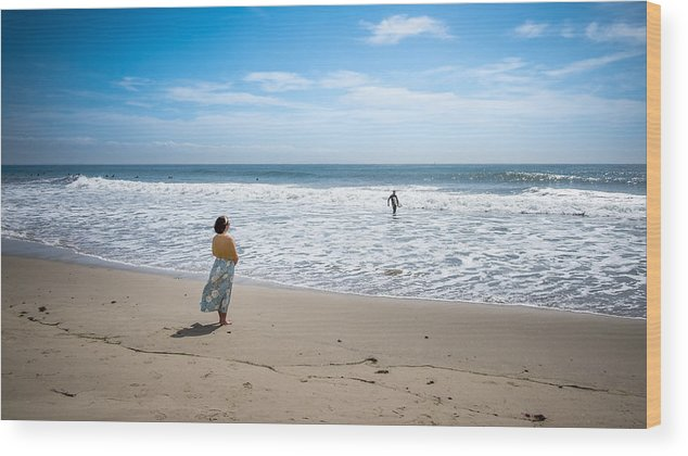 Beach Wood Print featuring the photograph Be Safe - Malibu, United States - Color Street Photography by Giuseppe Milo