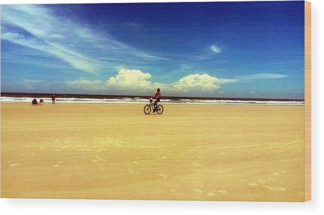 Wood Print featuring the digital art Beach Life On Daytona Beach by Alfred Blaho