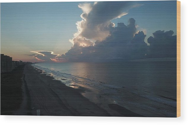 Beach Sunrise Silver Lining Clouds Digital Drone Wood Print featuring the digital art Beach Silver Lining by James Mcpherson