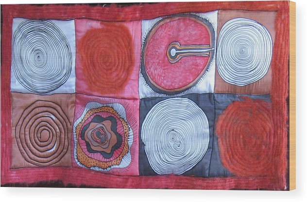 Abstract Wood Print featuring the tapestry - textile Beginning Of Life by Aliza Souleyeva-Alexander