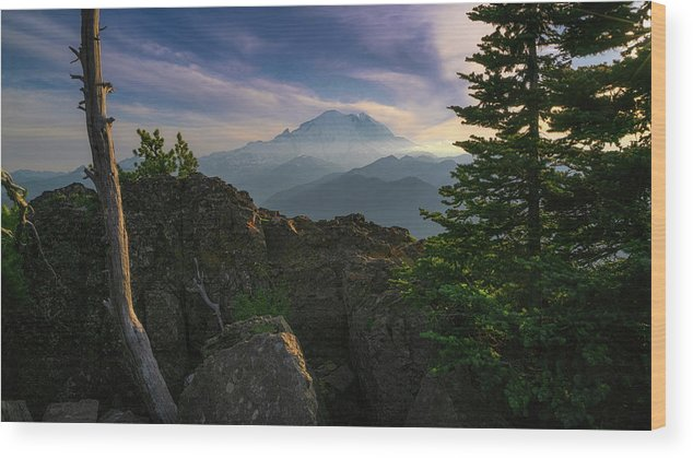 Mtrainier Wood Print featuring the photograph Beyond The Ridge by Ken Stanback