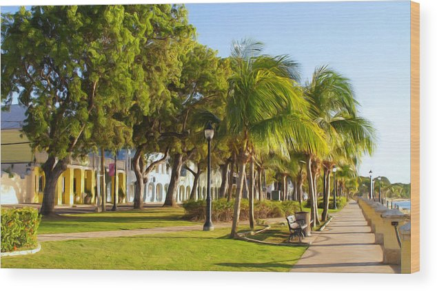 Caribbean Wood Print featuring the painting Caribbean Waterfront by Linda Morland