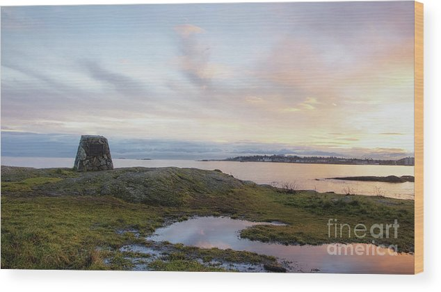British Columbia Wood Print featuring the photograph Cattle Point Memorial by Dorothy Hilde