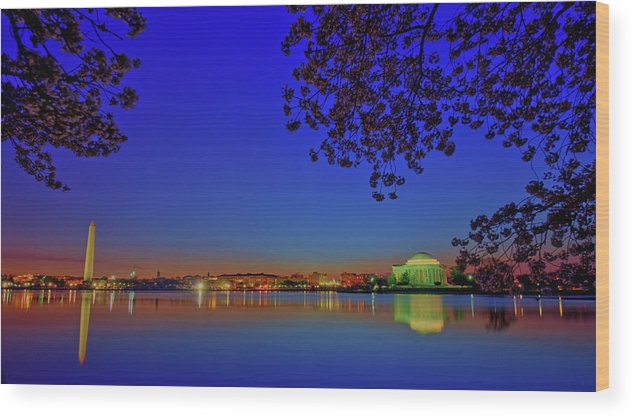 Washington Dc Wood Print featuring the photograph Cherry Blossoms Sunrise by Craig Fildes