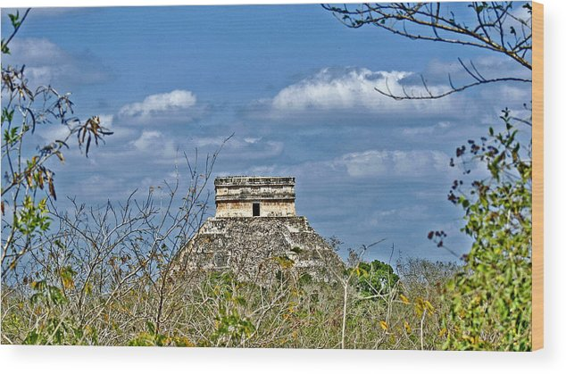 Chichen Itza Wood Print featuring the photograph Chichen Itza Sunny Side by Chris Brannen