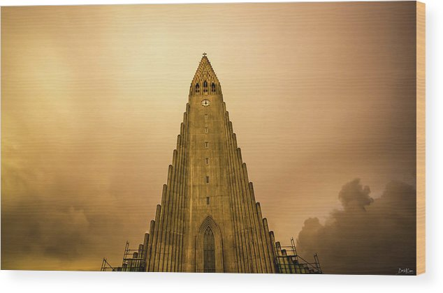Iceland Wood Print featuring the photograph Church Of Fire by Bob McCormac