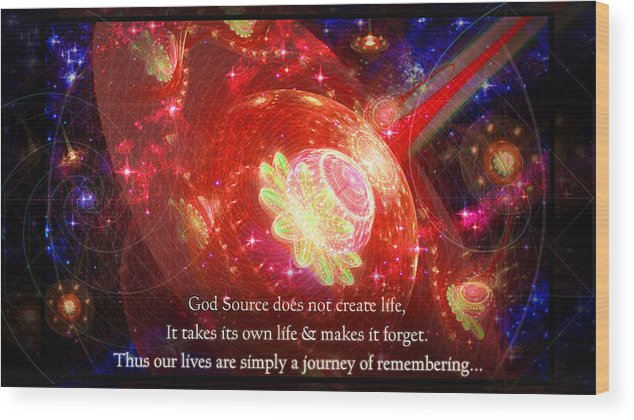 Corporate Wood Print featuring the mixed media Cosmic Inspiration God Source 2 by Shawn Dall