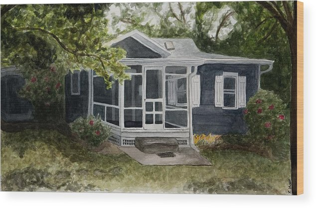 Cottage Wood Print featuring the painting Cottage by Laura Shoop