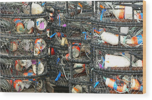Crabs Wood Print featuring the photograph Crab Traps by Larry Keahey