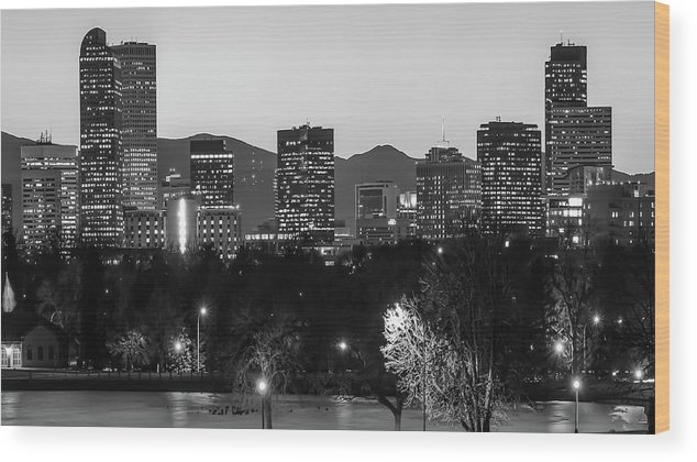 Denver Wood Print featuring the photograph Denver Colorado Skyline Wide Angle Black And White by Gregory Ballos