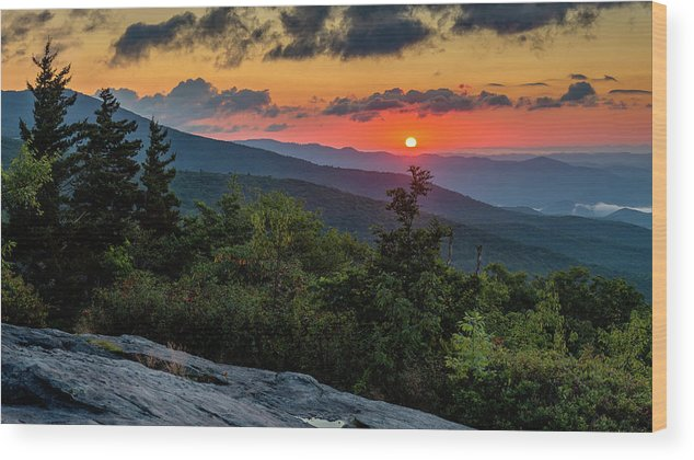 Blue Ridge Parkway Wood Print featuring the photograph Blue Ridge Parkway Sunrise - Beacon Heights - North Carolina by Mike Koenig