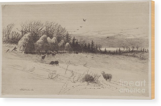 Wood Print featuring the drawing Evening After The Storm by John Austin Sands Monks
