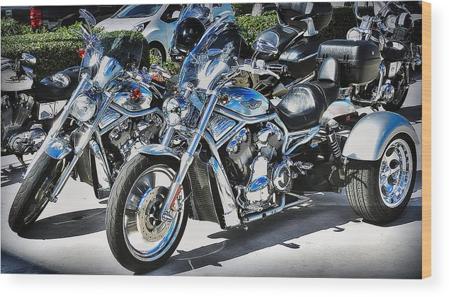 Fat And Glitzy Harleys Wood Print featuring the photograph Fat And Glitzy Harleys by Dieter Lesche