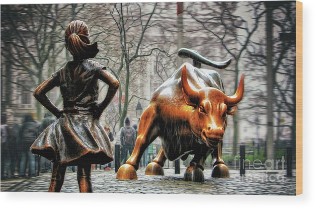 Wall Street Bull Art fearless girl and wall street bull statues wood printnishanth