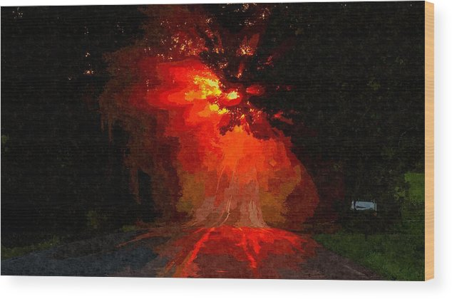 Road Wood Print featuring the painting Fire Road by MJ Arts Collection