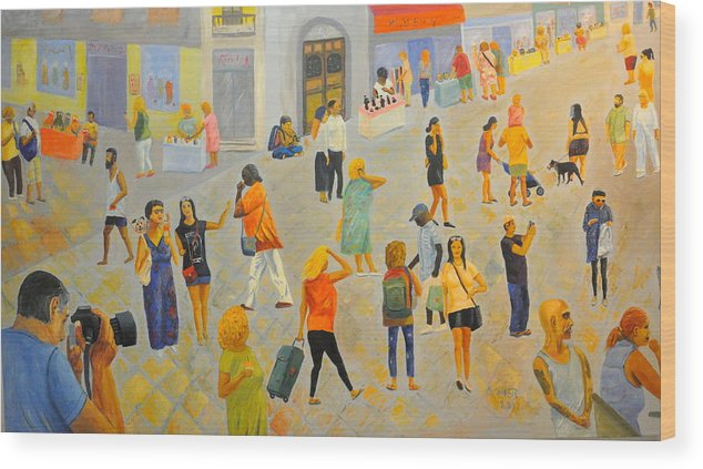 People Wood Print featuring the painting Friday In Tel Aviv by Asher Topel