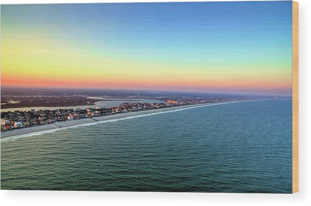 Sunset Wood Print featuring the photograph Garden City Ocean Sunset by Robbie Bischoff
