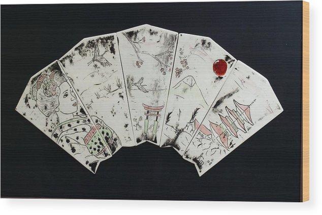 Geisha Wood Print featuring the painting Geisha Fan by Jackie Ramo
