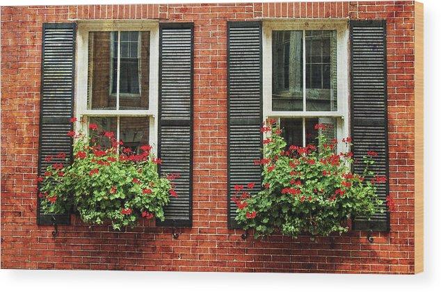 Geranium Window Boxes On Colonial Windows Wood Print By Joann Vitali