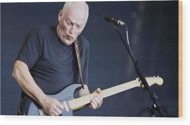 David Gilmour Wood Print featuring the painting Gilmour #003 By Nixo by Never Say Never