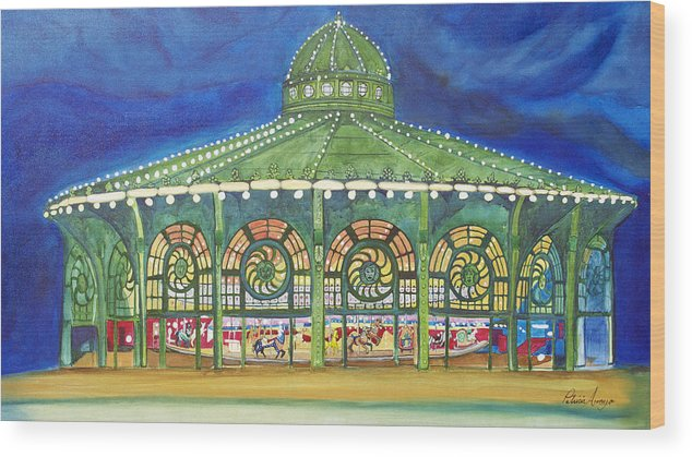 Night Paintings Of Asbury Park Wood Print featuring the painting Grasping The Memories by Patricia Arroyo