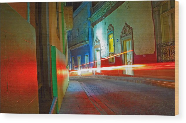 Shadow Wood Print featuring the photograph Guanajuato Night by Skip Hunt