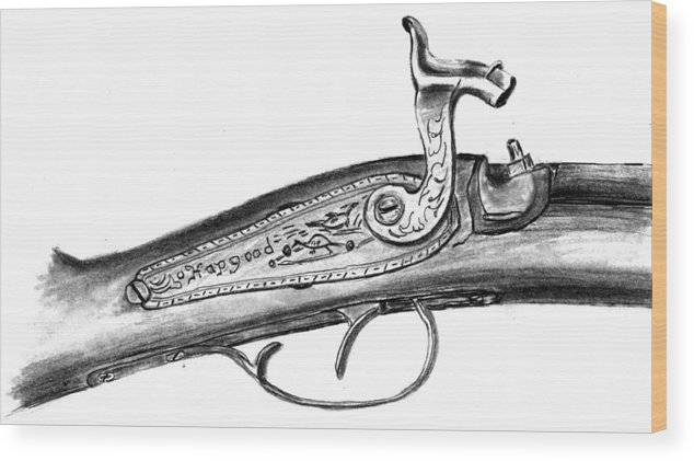Antique Firearm Wood Print featuring the drawing Hapgood Musket by Kevin Callahan