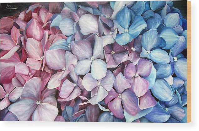 Flowers Nature Blue Violet Macro Wood Print featuring the painting Hortensias by Natalia Tejera