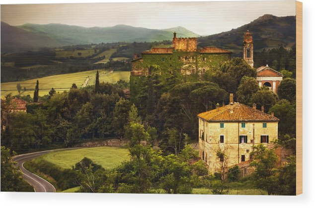 Italy Wood Print featuring the photograph Italian Castle And Landscape by Marilyn Hunt