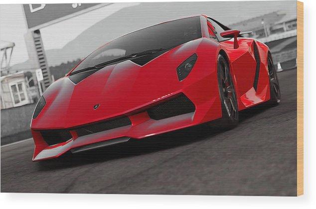 Lamborghini Sesto Elemento Red Efesto Wood Print By Andrea