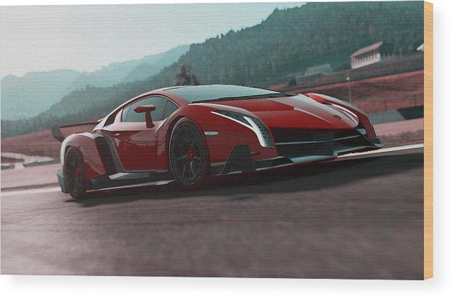 Lamborghini Wood Print featuring the painting Lamborghini Veneno by Andrea Mazzocchetti