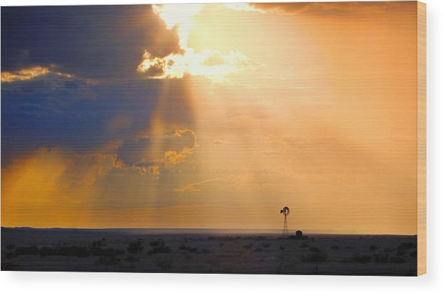 Skip Hunt Wood Print featuring the photograph Marfa Windmill 1 by Skip Hunt