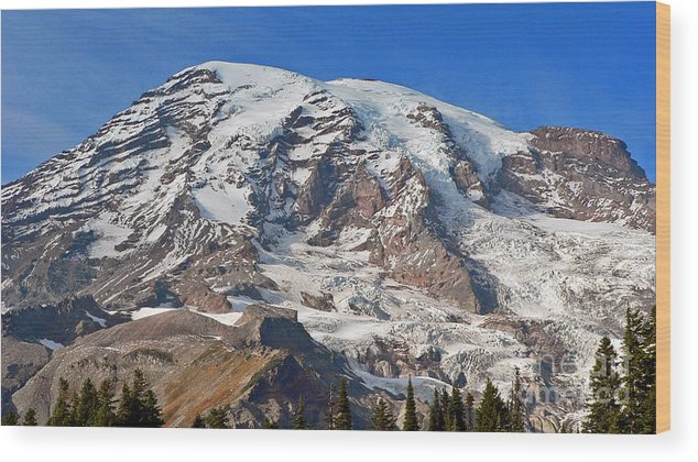 Mountains Wood Print featuring the photograph Mt. Rainier In The Fall by Larry Keahey