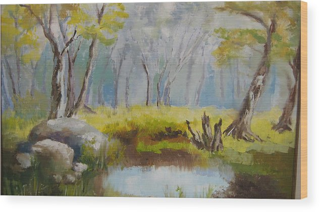 Landscape Wood Print featuring the painting My Pond by Mabel Moyano