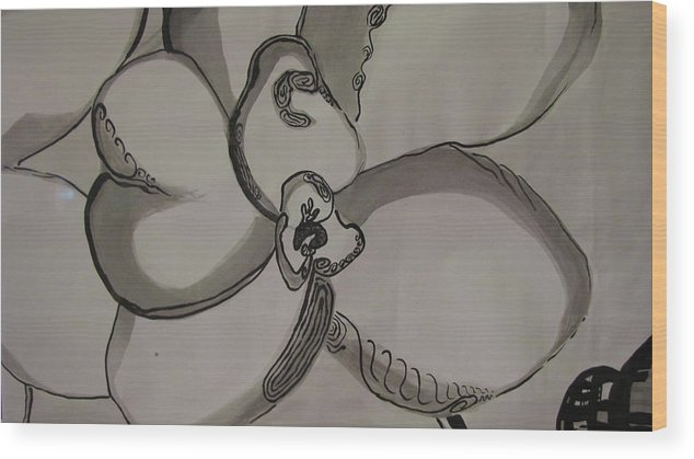 Orchid Wood Print featuring the drawing Orchid Scroll 3 by Holly Berry