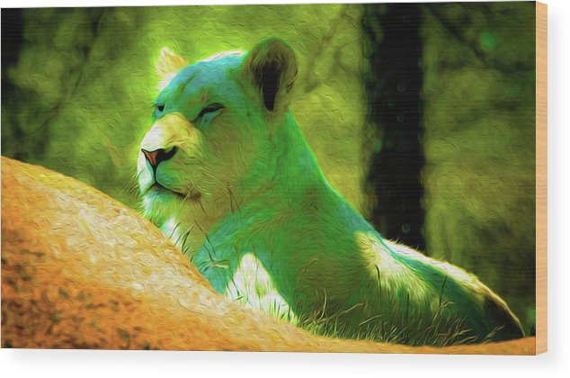 Lion Wood Print featuring the photograph Painted Lion by Les Lorek