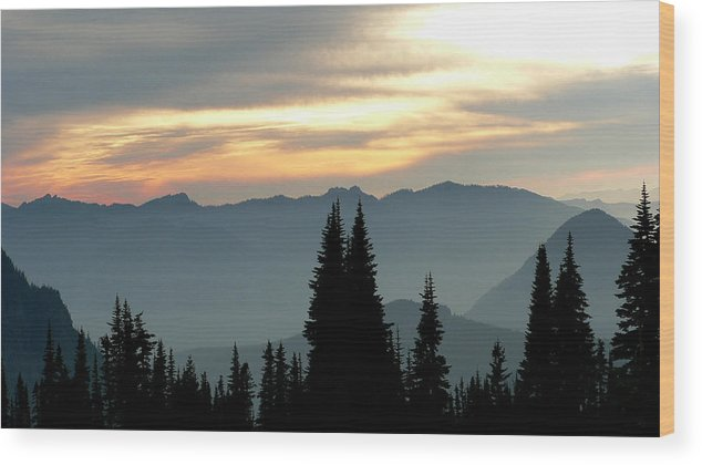 Mountains Wood Print featuring the photograph Peaks And Valley by Larry Keahey