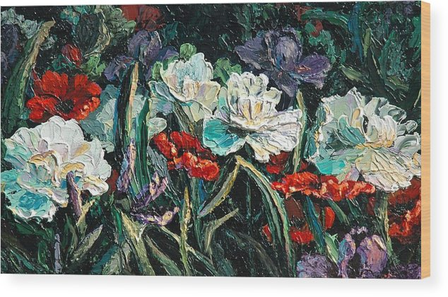 Floral Wood Print featuring the painting Peonies by Cathy Fuchs-Holman