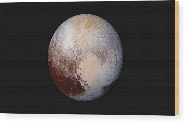 Pluto Wood Print featuring the photograph Pluto Dazzles In False Color by Nasa