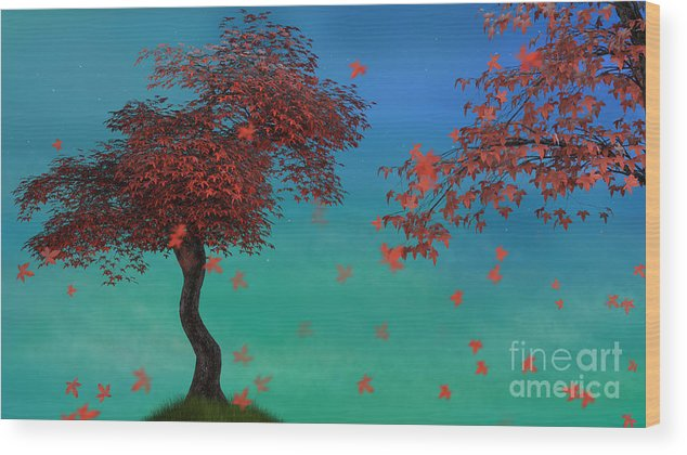 Red Wood Print featuring the digital art Red Maples by Elle Arden Walby