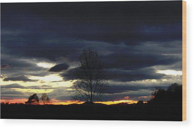 Landscape Wood Print featuring the painting Rising Sun by Penny Everhart
