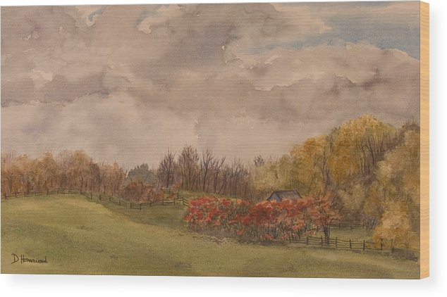 Fields Wood Print featuring the painting Rolling Fields In The Fall by Debbie Homewood