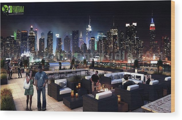 Roof Top Design Ideas Evening Scene By Yantram Architectural Planing  Companies Toronto, Canada Wood Print
