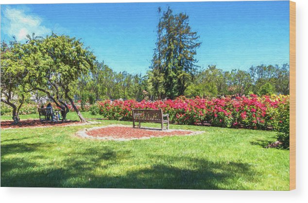 California Wood Print featuring the digital art Rose Garden Benches Impressionist Digital Painting by Randy Herring