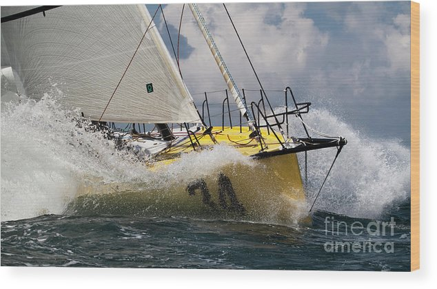 Sailboat Wood Print featuring the photograph Sailboat Le Pingouin Open 60 Charging by Dustin K Ryan
