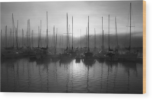 Sailboat Harbor Black And White Wood Print featuring the photograph Sailboats In Harbor 1 by Kevin Mitts