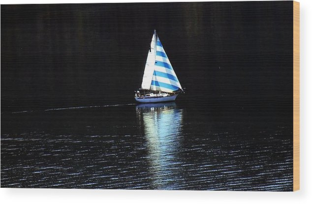 Sailboat Wood Print featuring the photograph Sailing by Tiffany Vest