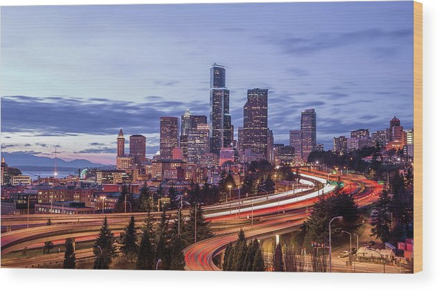 Seattle Wood Print featuring the photograph Seattle At Dusk by Seattle Art Wall