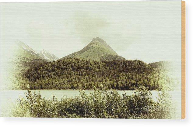Alaska Wood Print featuring the photograph Sepia Alaska by Chuck Kuhn